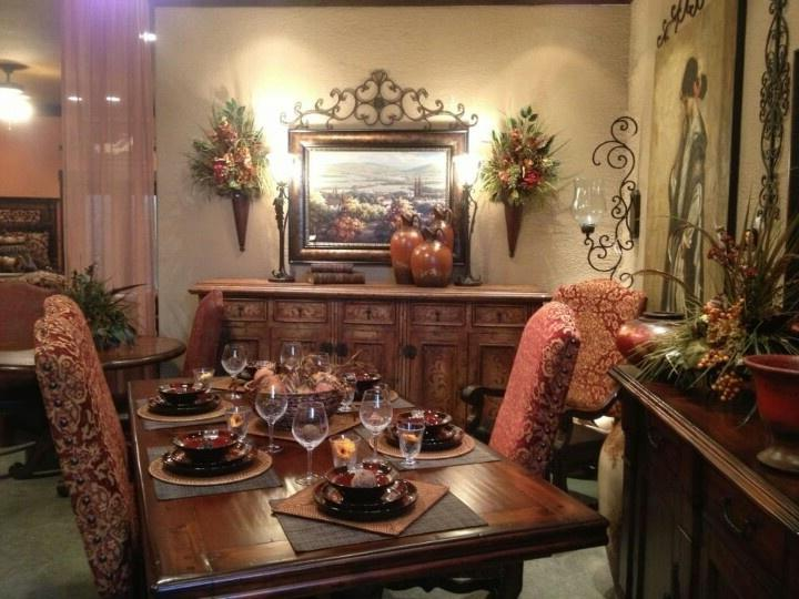 Tuscan dining room floral and tapestry