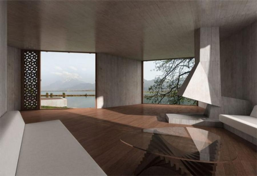 Treehouse, Geometric Guest House Design In China Interior