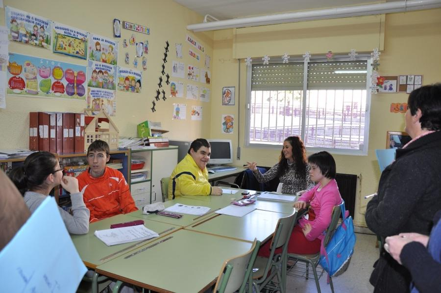 The Special Education students in their classroom.