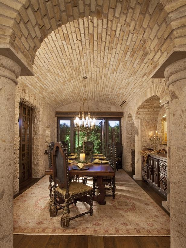 Tuscan Dining Room with Wooden Table and Hardwood Floors