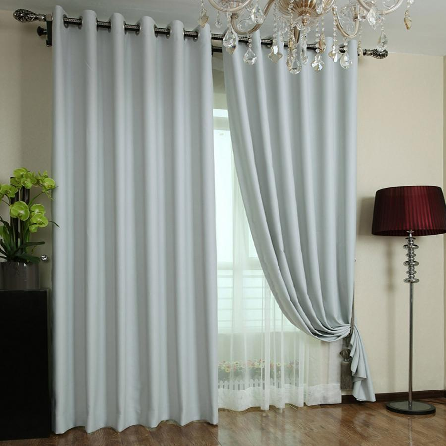 39% Stylish Light Grey Polyester Made Blackout Curtains (Two...