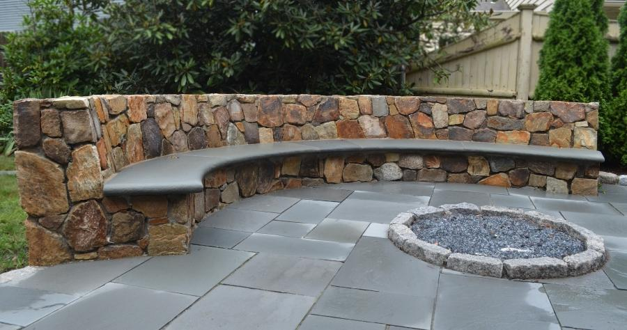 Outdoor Patio, Stone Bench and Fire Pit