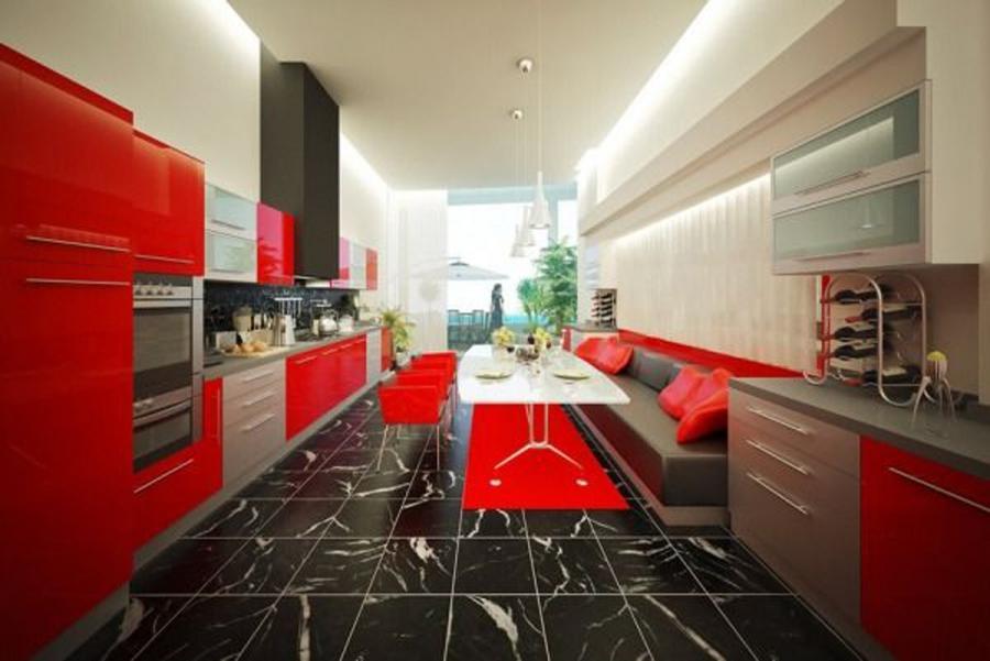 Black White Red Kitchens Photos