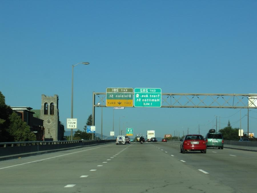 Division Street flows north from Interstate 90 as a one-way...