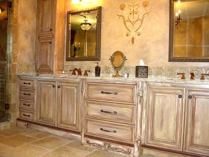 classic painting bathroom cabinet with a beautiful faux finish