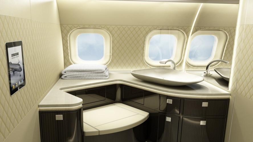 Private jet interior photos for Private jet bathroom