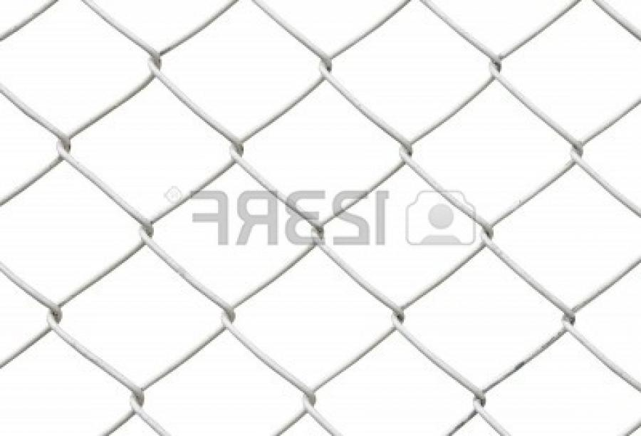 Stock Photo - chain link fence isolated on white background