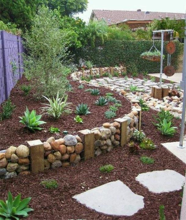 Inexpensive Small Backyard Ideas: River Rock Garden Photos