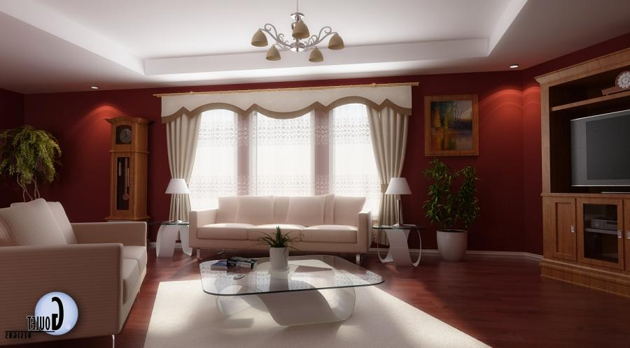 ... Red and White Living Rooms with Wooden Flooring : Marvellous...