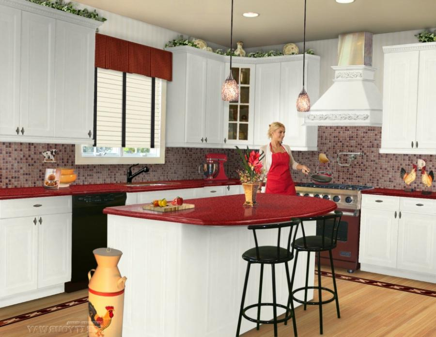 kitchen kitchen with white cabinets and red marble countertop...