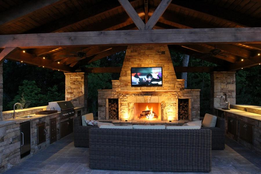 Outdoor Kitchen And Firepit Designs And Photos