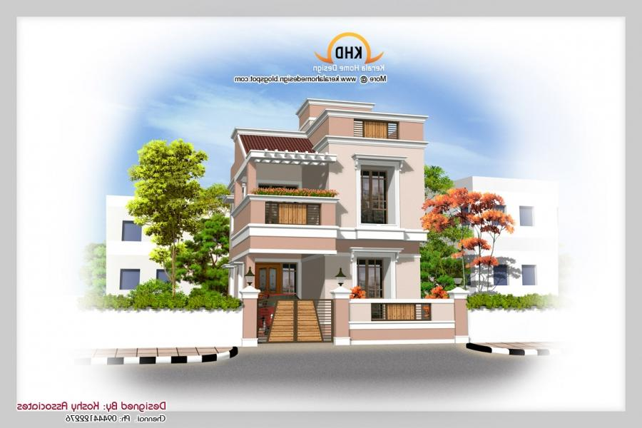 South indian house plans with photos exterior for South indian model house plan