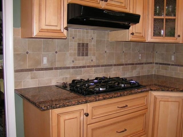 baltic brown granite tile backsplash traditional kitchen