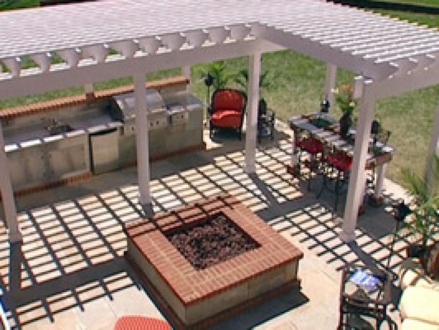 L shaped pergola photos for Outdoor kitchen ideas plans
