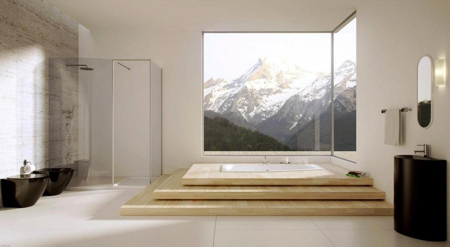 A mountain retreat boasts an awe-inspiring visage about a raised...