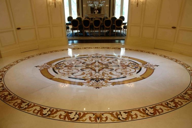 Modern round marble flooring tile designs for small room