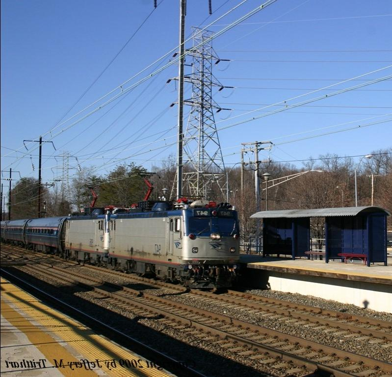 Amtrak AEM7 No. 947 leads Amtrak Carolinian, 79, southbound on...