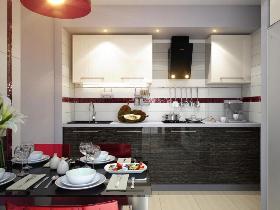 Awesome Red White Black Color Combo Contemporary Kitchen