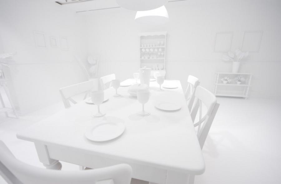 All white: The room before thousands of children were let loose...