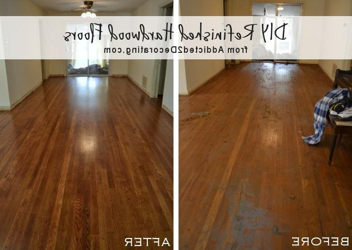 DIY refinished hardwood floors, before and after (65-year-old oak...