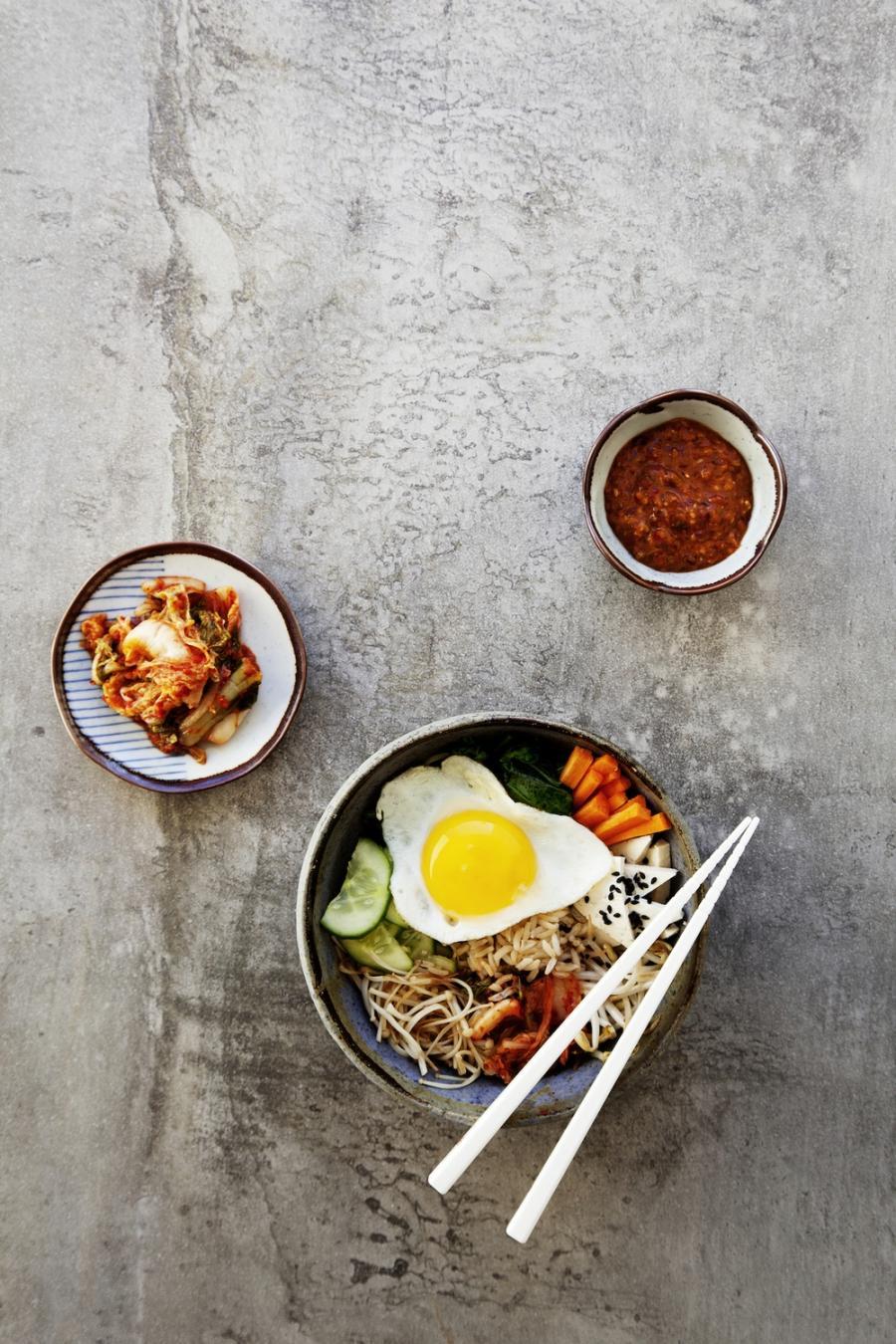 Korean Bibimbap with Kochujang Sauce + Vegan Kimchi u2014 Kenko ...