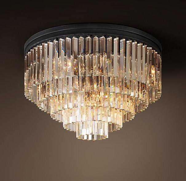 1920s Odeon Glass Fringe Flush-mount...