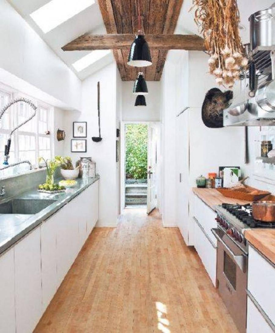 Galley Kitchen Flooring Ideas: Country Gallery Kitchen Photo