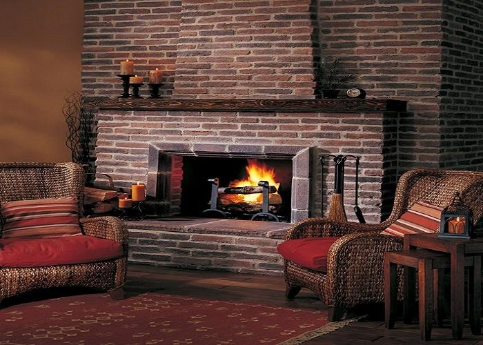 Rustic brick fireplaces photos