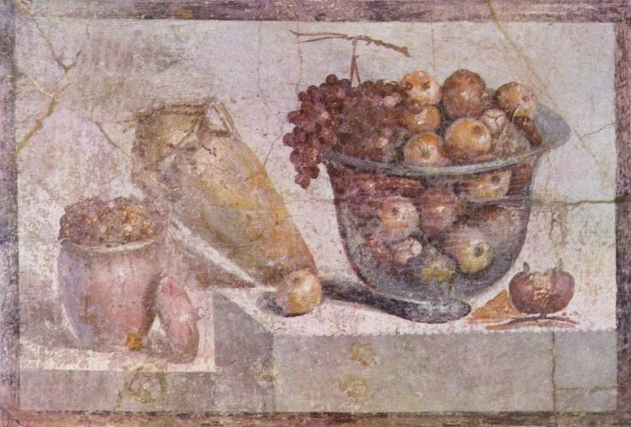 Glass bowl of fruit and vases. Roman wall painting in Pompeii...