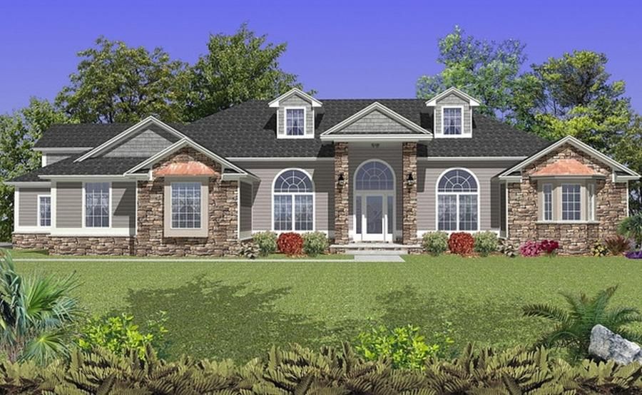 Brick and stone home photo gallery for Brick colonial house plans