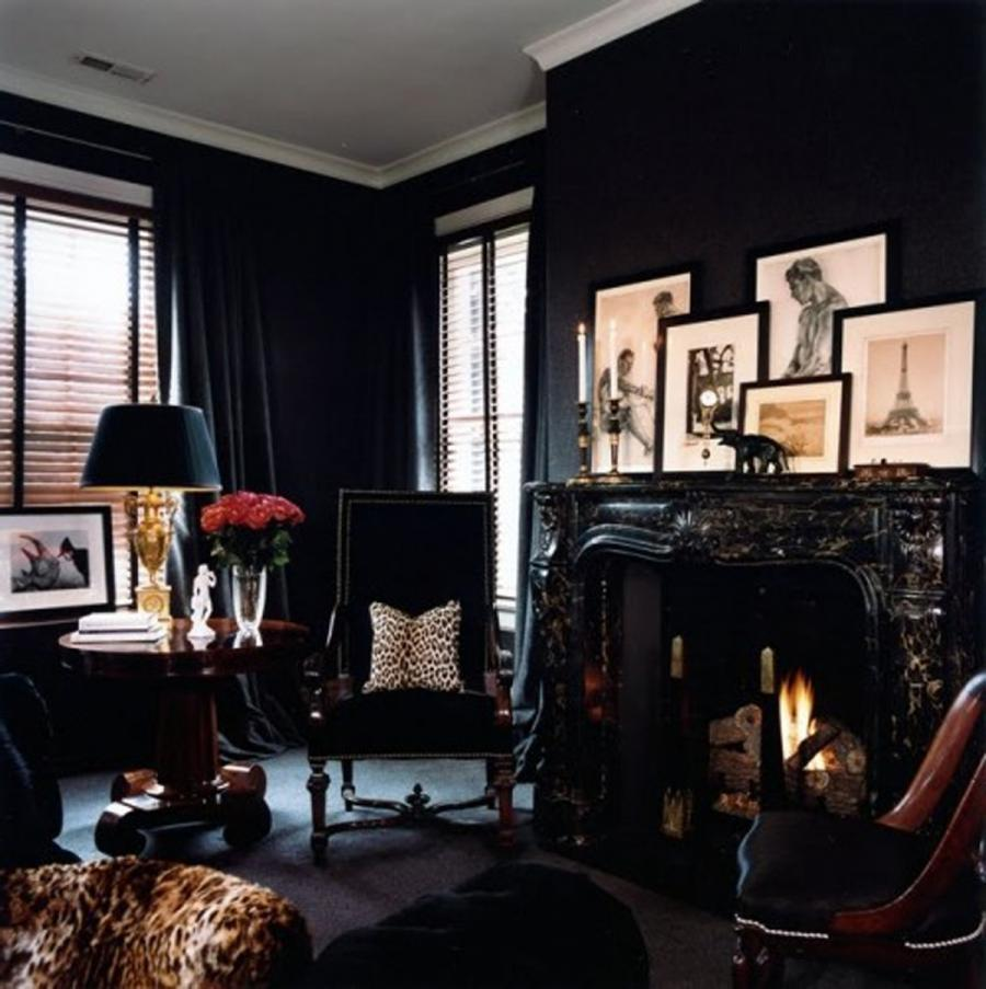 Photo black room for Reading room interior design