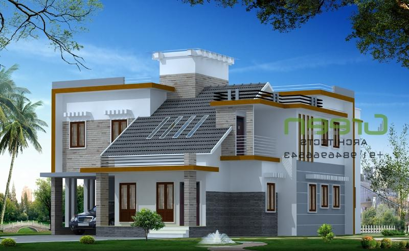 Flat roof house elevation photos in kerala style for Flat roof elevation