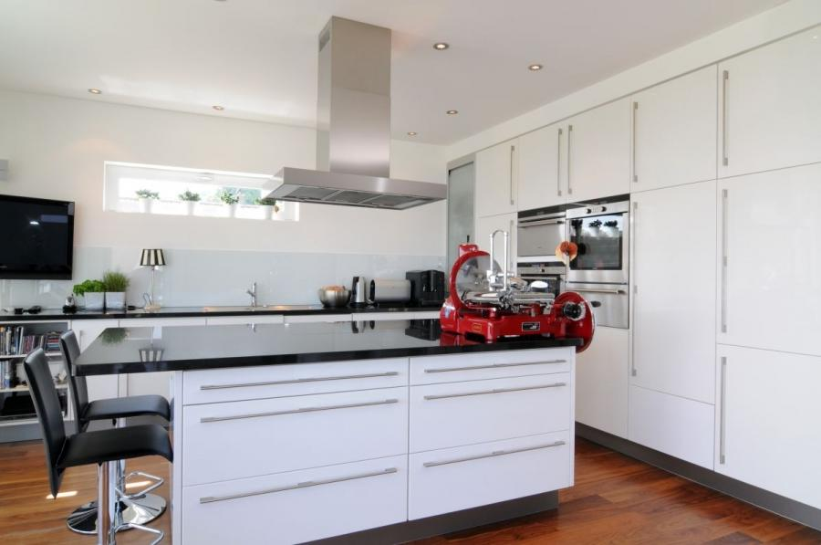 Beautiful Contemporary White Chalet Interior Design : Red Kitchen...