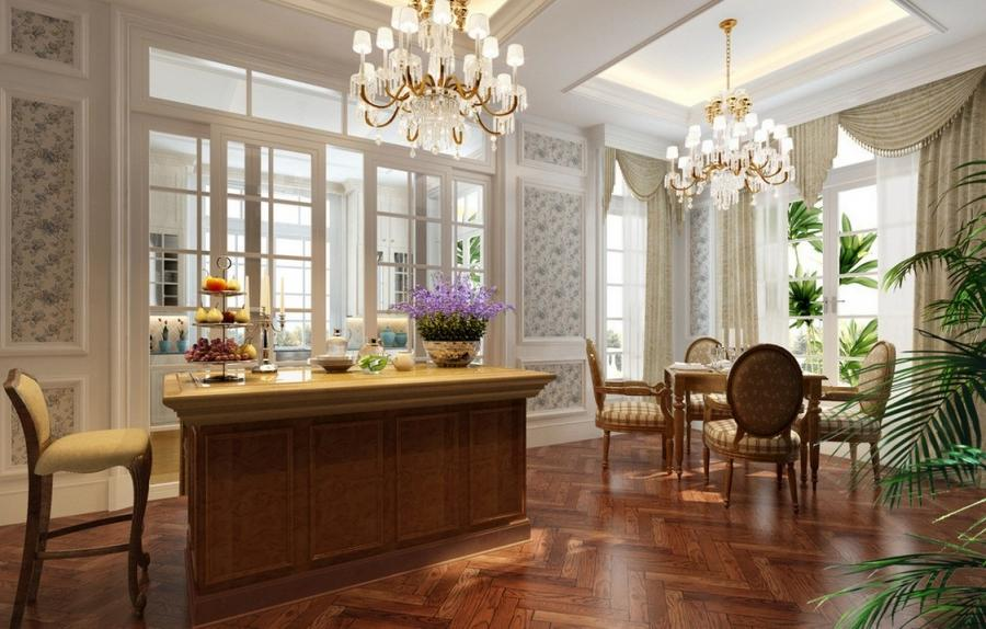 ... Modern French dining room interior design rendering