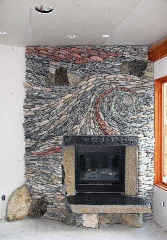 Fieldstone Fireplace Photo