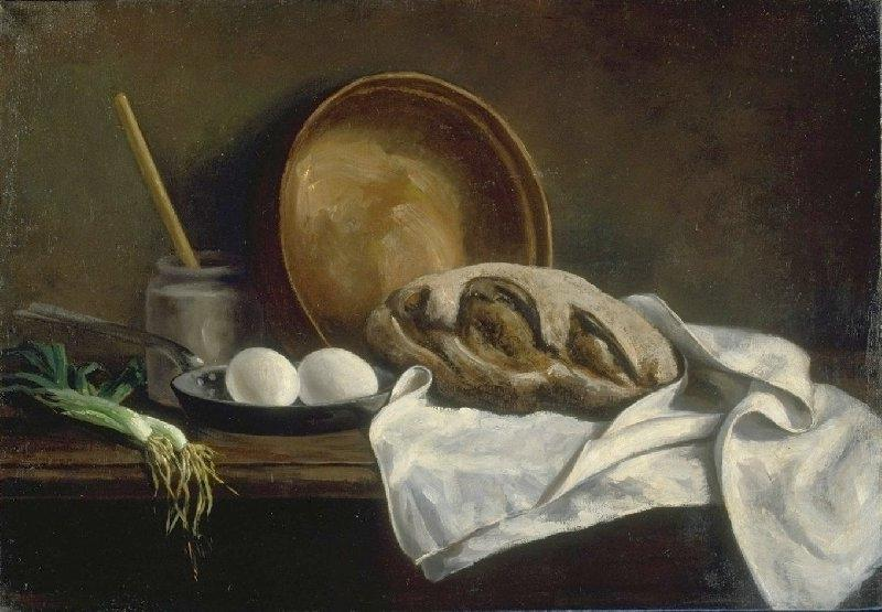 Kitchen Still Life with Bread and Eggs
