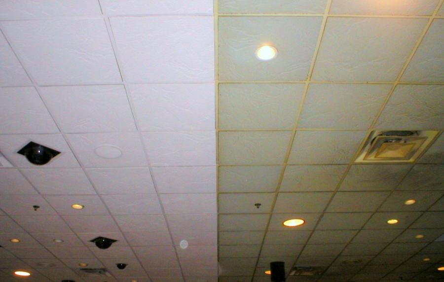 Before and After Acoustic Ceiling tiles at Duff International...