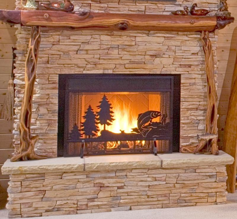 Gift Ideas Real Log Style: Log Home Fireplace Photos