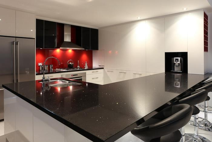 Adelaide Kitchen - Black, White and Dazzling Red