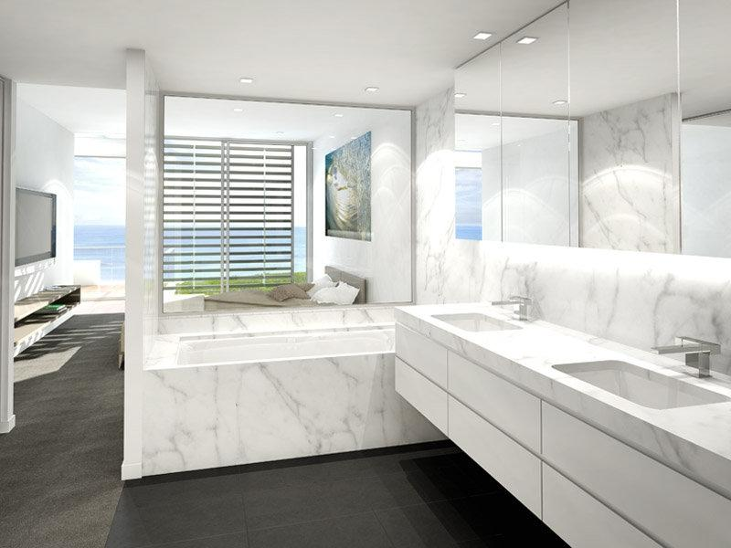 Modern bathroom design with recessed bath using marble - Bathroom...