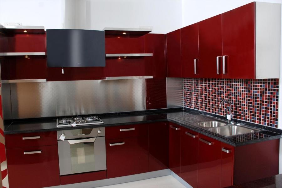 Kitchen thumbnail photos modular for Red kitchen designs photo gallery