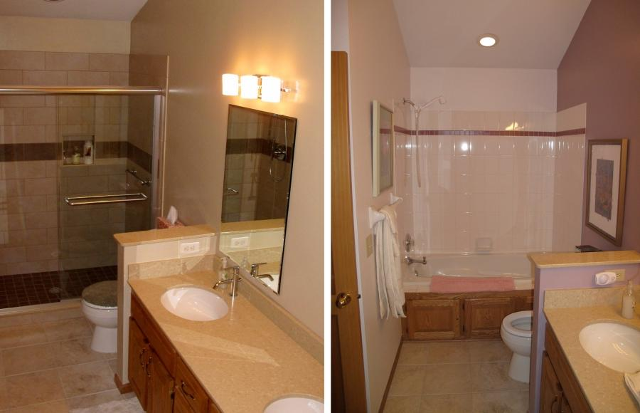 small bathroom remodel before and after photos. Black Bedroom Furniture Sets. Home Design Ideas