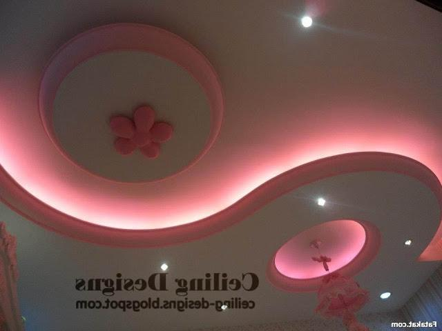 romance false ceiling designs for bedrooms from gypsum with pink...