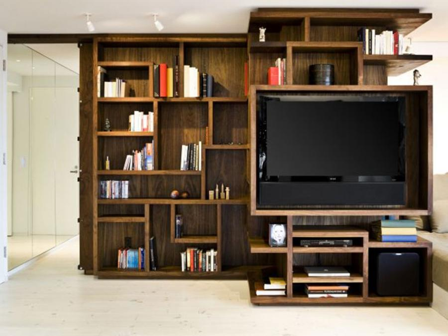 Bookshelf Wall Design Idea Include Hanging Tv Wall Furniture