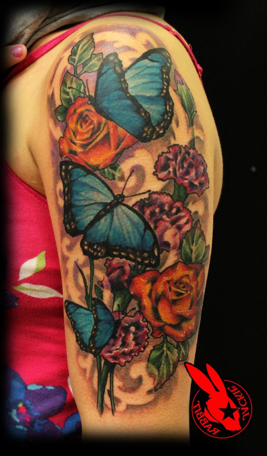 31be0e9784e88 Blue Butterfly Flower tattoo by Jackie Rabbitby jackierabbit12