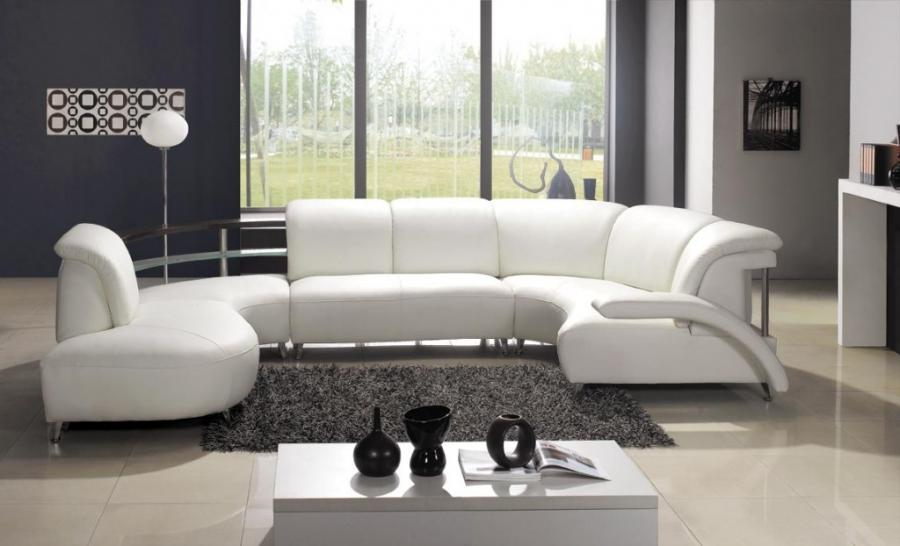 Modern White Leather Sectional Sofa 104 ...