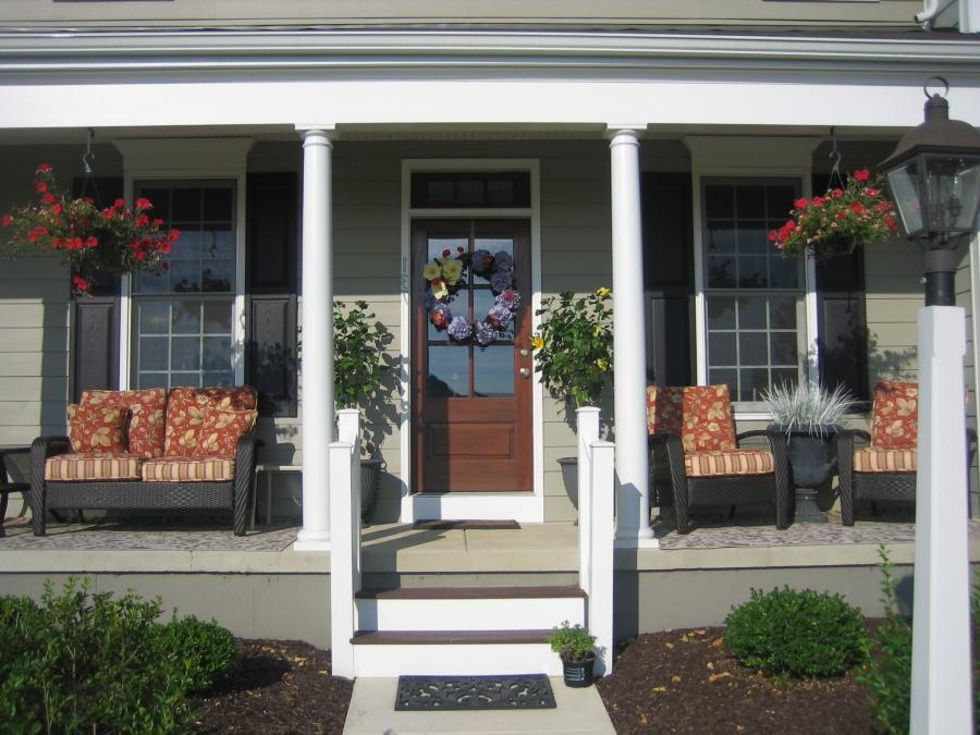 Sleek Front Porch Ideas With Landscape Decor Inspirations:...