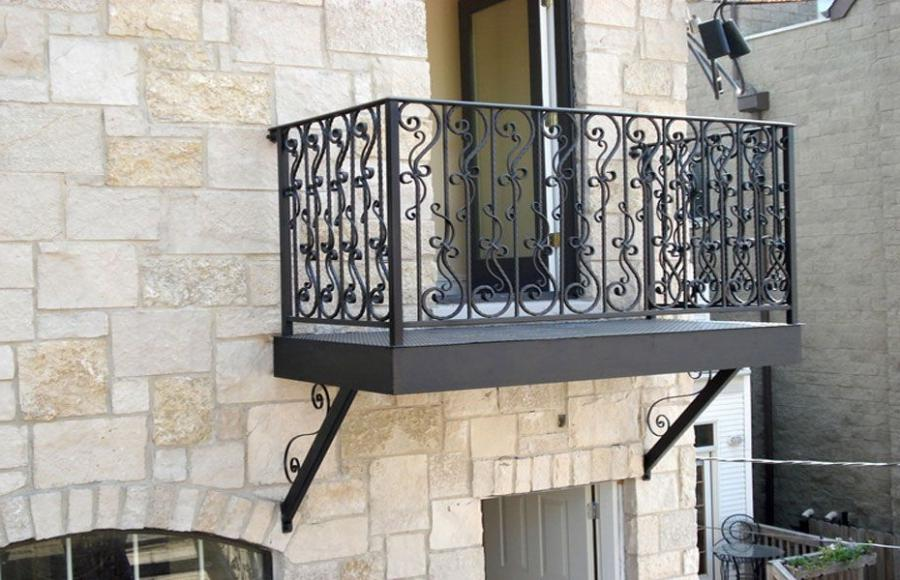 hand forged steel Parisian hammered balcony