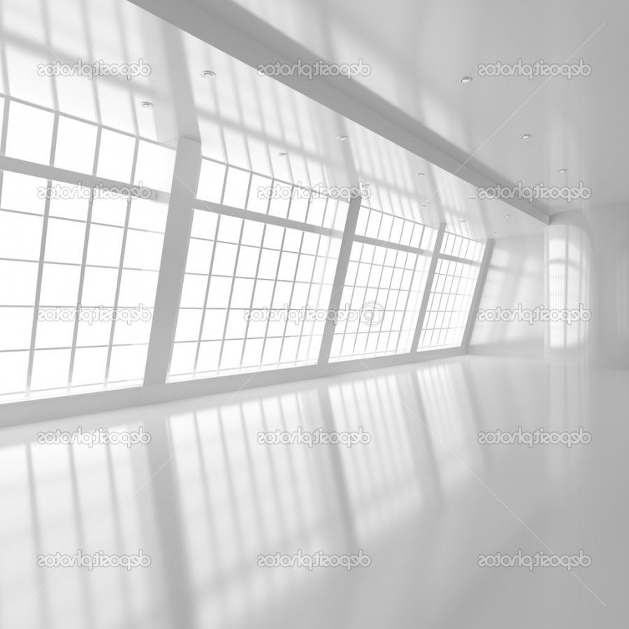 Empty White Room with Big Windows - 3d illustration u2014 Photo...