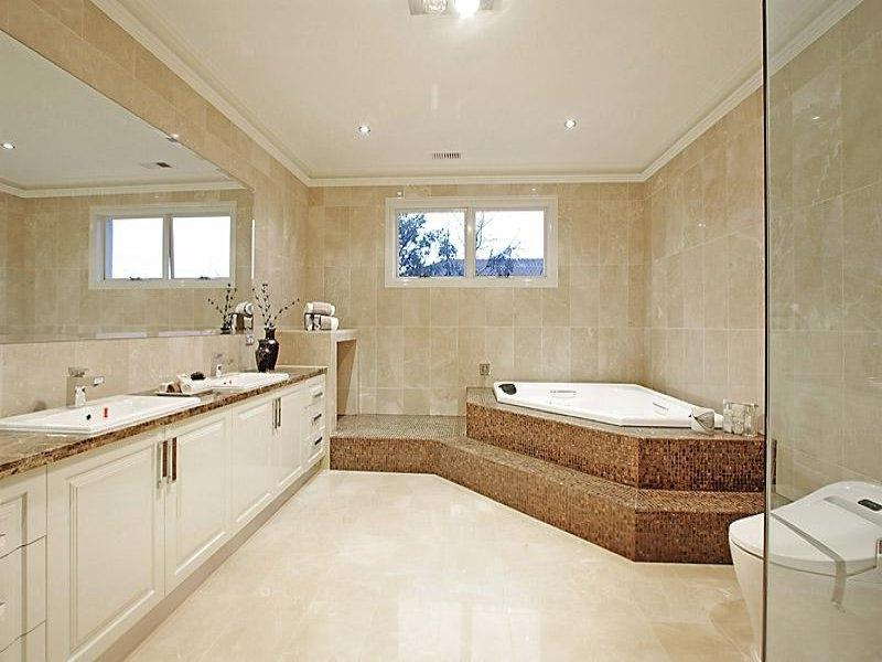 Classic bathroom design with corner bath using glass - Bathroom...